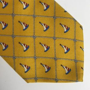 Brooks Brothers Yellow Silk Sailboat Tie